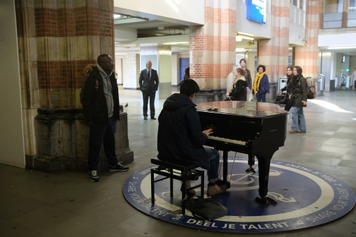 Yup, you can play the piano on the train station in Amsterdam.
