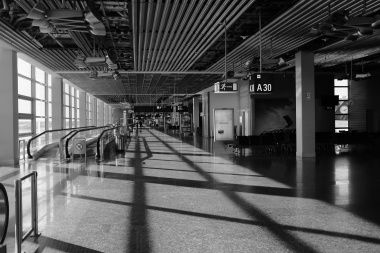 Empty end of terminal in Frankfurt.
