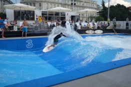 Surfing in the middle of the city? Sure, why not.