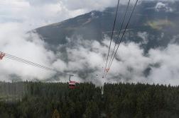 Starting the journey between the two peaks in the Peak 2 Peak gondola.